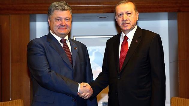 Erdoğan, Ukrayna Devlet Başkanı Poroşenko ile görüştü