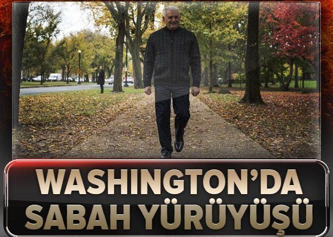 Başbakan Yıldırım, Amerika'da sabah yürüyüşüne çıktı.